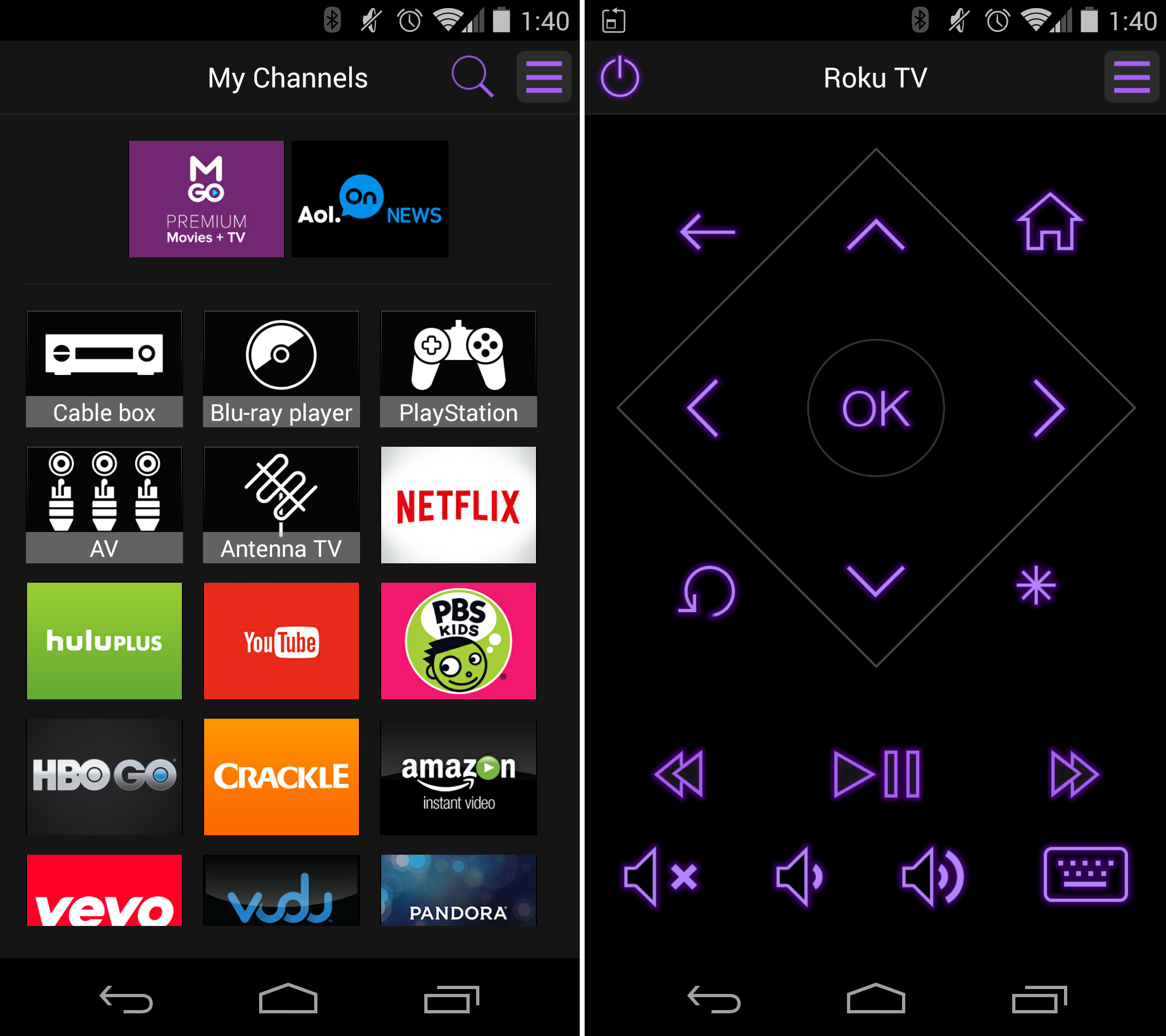 Control Roku TV with the free Roku mobile app for Android, iOS and