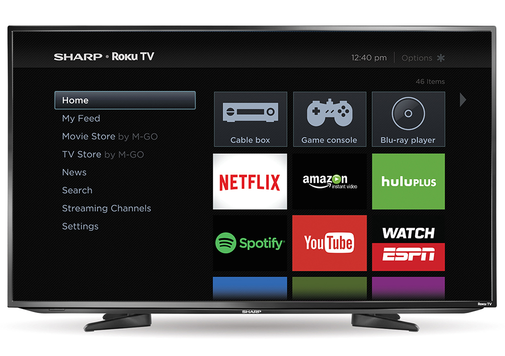 sharp smart tv. sharp roku tv home screen smart tv
