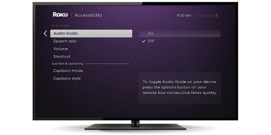 Accessibility features on the Roku® platform